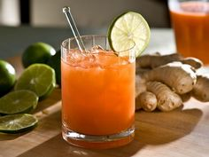 This ginger and carrot juice cocktail offers a healthy, refreshing libation for any casual gathering.