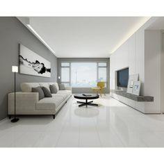 Super White Porcelain Tile - 12 x 24 - 912500188 Living Room White, Living Room Decor, Polished Porcelain Tiles, Porcelain Floor, Ceramic Floor Tiles, Modern Floor Tiles, Living Room Flooring, White Tiles, Floor Decor