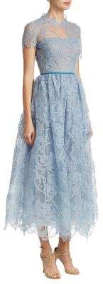 Marchesa Notte Scalloped Lace Gown