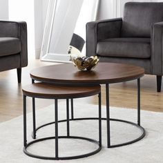 Solero Set Of Coffee Tables Round In Walnut With Metal Legs