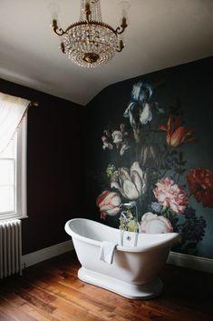 Dark and Moody Floral Wallpaper — Sensational Surroundings Pittsburgh Interior Design Bathroom Mural, Bathroom Lighting, Bathroom Ideas, Bathroom Wallpaper, Small Bathroom, Bathroom Interior, Gold Wallpaper, Bathroom Mirrors, Black Floral Wallpaper