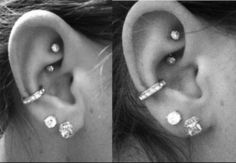 hmm this is actually the exact arrangement i'm considering... but i don't want to crowd my tiny ears. and the other option would be to get a rook piercing with a normal helix piercing bc i at least want a conch on one and a helix on the other