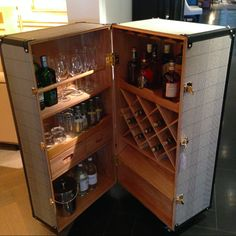 A bar cabinet is always such a welcoming furniture piece for your house's guests. Here's a selection of some of the best ideas to spark your inspiration! Bar Furniture, Recycled Furniture, Drinks Cabinet, Liquor Cabinet, Martini Bianco, Wooden Wine Cabinet, Best Wine Coolers, Heating And Plumbing, Pex Plumbing