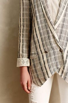 Anthropologie Promenade Checkered Blazer - love the lace detail on the cuff