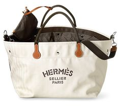 "Fourre Tout Hermes equipment bag for riders. Herringbone canvas 100% cotton, polyamide lining. 18"" long x 14"" wide x 12"" high, 38"" strap. Ref. 060752CAAA $ 2,475"