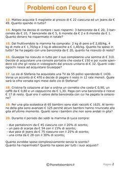 20 Problemi con l'Euro per la Scuola Primaria | PianetaBambini.it Primary Maths, Primary School, Math Crafts, Learning Italian, Math For Kids, Euro, Teaching Math, Math Activities, Problem Solving