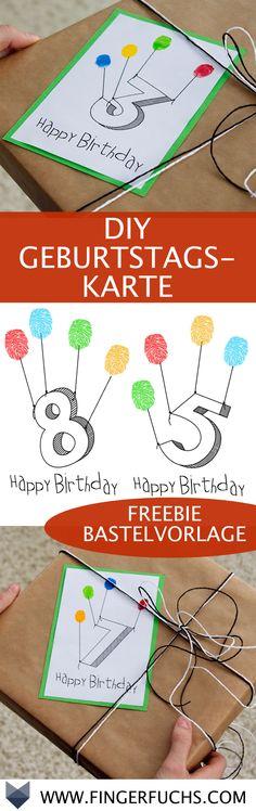 DIY Geburtstagskarte zum Verschenken. Super zum Basteln mit Kindern geeignet.