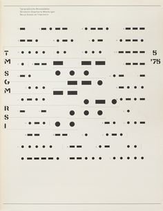 Cover from 1975 issue 5 of Typographische Monatsblätter [by Heinrich Fleischhacker] This designer uses morse code to act as both the imagery and the typography for this cover. Genius.