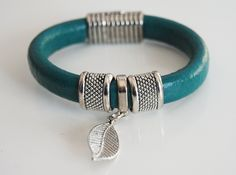 Teal Green Licorice Leather Bracelet Bangle by ferozasjewelery, $42.00