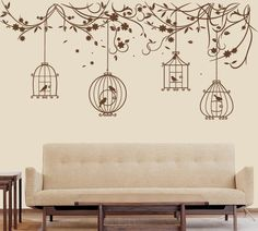 Tree wall sticker, blossom tree decal, bird cage decal  - T20. $85.00, via Etsy.
