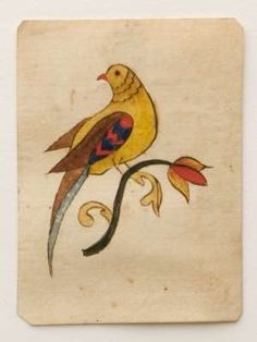 A tiny, 3-inch by 2 1/4-inch brightly colored Pennsylvania watercolor and ink on paper fraktur drawing of a bird perched on a tulip realized $ 1,380; a tall price for a piece that was about the size of a credit card (lot 226