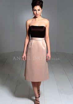 Strapless Sheath/ Column Satin Natural Waist Tea Length Sleeveless Bridesmaid Dress