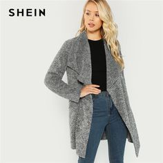Grey Office Lady Waterfall Collar Solid Knee Length Teddy Coat 2018 Autumn Casual Women Coats Outerwear Gray S Oufits Casual, Style Casual, Casual Fall, Coats For Women, Jackets For Women, Clothes For Women, Ladies Coats, Long Jackets, Outerwear Women