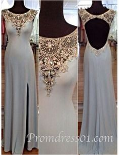 Long prom dress with slit, modest prom dress, elegant beaded chiffon ball gown