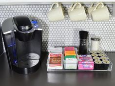 Trays are a great tool to unify separate items into one organized and pretty grouping. Create a coffee station to make mornings easy for house guests and to spoil yourself every day. Get more pantry organizing + storage tips.