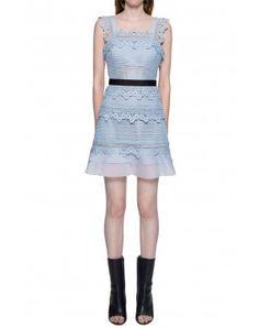 Self-Portrait Petunia lace Mini Dress Powder-Blue