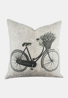 Bicycle Pillow in Grey