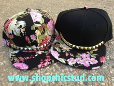 Studded Hat Snapback Floral Print Gold OR by ShopChicStud