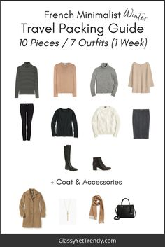 Find out what items to pack for 1 week in this travel packing guide! 10 clothes and shoes = 1 week of outfits! Pack a sweater, striped turtleneck, black top tee, skirt, jeans and boots. The secret to packing less AND having several outfits to wear is to make sure all…