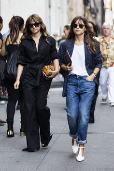 All black; boyfriend jeans with white pumps, white tee, pinstripe blazer.