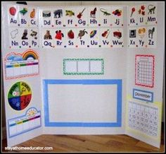 Circle Time for the Mobile Classroom – for Shared Teaching or Limited Space How to make your at home preschool mobile, either for shared teaching or for small spaces. Preschool Rooms, Preschool At Home, Preschool Classroom, In Kindergarten, Preschool Prep, Kindergarten Calendar, Preschool Boards, Preschool Decor, Preschool Printables