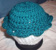 ON SALE  Teal & White NEWBORN Cupcake Beanie  by skylay on Etsy, $11.00