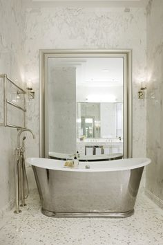 Waterworks bath in Walker Tower NYC (Candide Tub, Henry Exposed Tub Filler, Universal Towel Warmer)