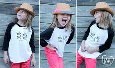 Kids / Toddlers Black and White Unisex Baseball Tee Poly/Cotton Raglan - OXOX