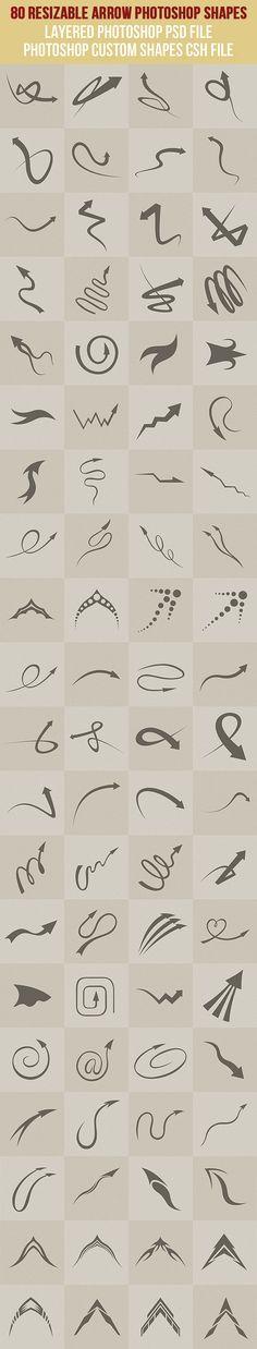 80 Arrow #Photoshop #Shapes - #Symbols Shapes