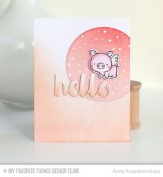 Hog Heaven Stamp Set and Die-namics, Snowfall Background, Scattered Surface Background, Inside & Out Stitched Circle STAX Die-namics, Hello There Die-namics - Anna Kossakovskaya #mftstamps