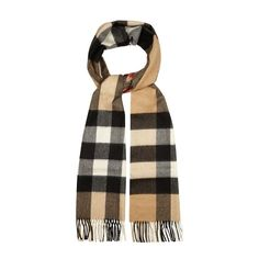 Burberry Mega-checked cashmere scarf ($431) ❤ liked on Polyvore featuring men's fashion, men's accessories, men's scarves, brown multi, burberry mens scarves and mens cashmere scarves
