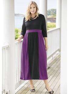 #Women's #PlusSize Concord Colorblock Knit Empire #Dress