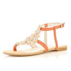 orange beaded sandals - sandals - shoes / boots - women - River Island