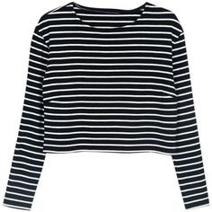 Choies Black Stripe Long Sleeves Crop Top ($14) ❤ liked on Polyvore featuring tops, shirts, crop top, clothes - tops, multi, crop shirts, stripe shirt, black top and striped long sleeve shirt