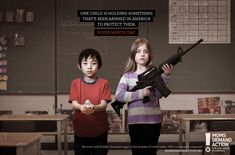 One child is holding something that's been banned in America to protect them. Guess which one.  We won't sell Kinder chocolate eggs in the interest of child safety. Why not assault weapons?  momsdemandaction.org