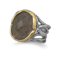 A heavenly faceted smoky quartz emanates from this 14 karat gold plated ring enthroned in a rustically textured rhodium plated sterling silver band. $109