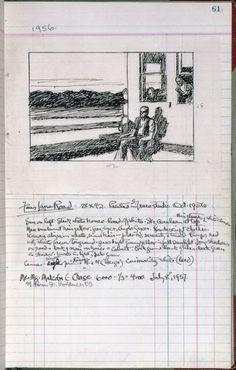 Edward Hopper - Painting - Realism - page 61 from Artist's ledger Book III, Manet, Artist Sketchbook, Visual Diary, Sketchbook Inspiration, Mail Art, Teaching Art, Oeuvre D'art, Book Art, Journal Art