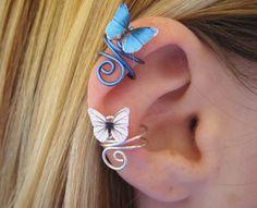 Gold Ear Cuff Butterfly Wire Wrap Earcuff. $17.95, via Etsy.