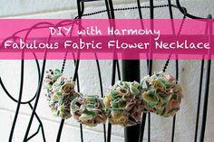 Fabric flower necklace diy