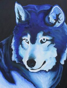 """'Cerulean Shadows' The first in a series of monochromatic animal paintings. Original size: 36x48"""" Medium: Acrylic paint on stretched canvas.   The entire piece is made using only ONE color, which is Pthalo Blue, plus varying amounts of black and white to shade and tint. There is not any part that does not have the Pthalo Blue mixed in, so no solid blacks or whites exist. This original is for sale for $1800. © Anastasia Smith 2013 all rights reserved."""