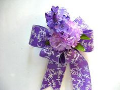 Purple and white gift bow Feminine gift bow All by JDsBowCreations