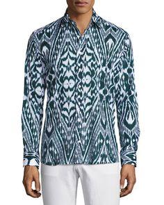 Ikat+Print+Sport+Shirt,+Navy+Blue/White+by+Etro+at+Bergdorf+Goodman.