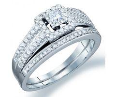 Princess Diamond Engagement Ring Wedding Set 14k White Gold (3/4ct) #Diamond #wedding #Bridal #Ring #fashion #Jewelry #White