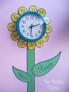 Learning to tell time.This is great because the petals help students read the clock and the petals tell students which hand is which. -Megan Smiley