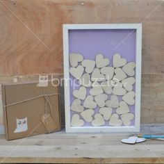 Wood frame guest book for wedding with 60 pieces by mywoodydinner Lilac Background, Wooden Hearts, Handmade Gifts, Frame, Books, Wedding, Etsy, Home Decor, Kid Craft Gifts