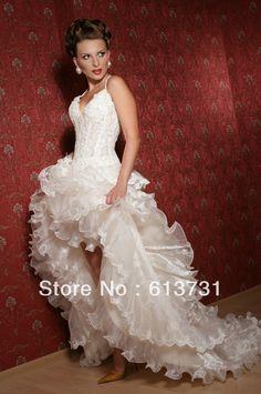 Wholesale 2013 Sexy Russian Style Ruffles Organza Skirt Short Front Long Back Wedding Dresses RW802 $179.00