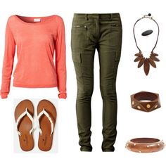 natural created by xreinax  coral/peach simple sweater with straight leg olive cargo pants, wood accessories and big silver ring with black jewel.