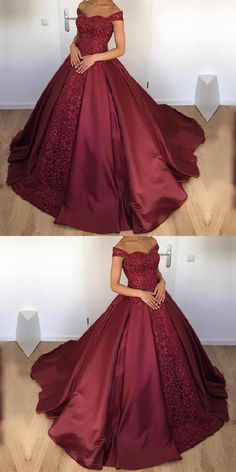 Custom Made Admirable Maroon Wedding Dresses Maroon Satin Ball Gowns Wedding Dresses Off The Shoulder Wedding Dresses For Girls, Perfect Wedding Dress, Sweet 16 Dresses, Elegant Dresses, Ball Dresses, Ball Gowns, Dresses Dresses, Maroon Gowns, Maroon Dress