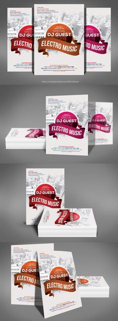 Electro Music Flyer Psd Template. Flyer Templates. $6.00