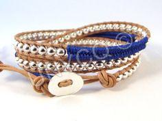 Trendy leren triple herringbone wrap blauw/zilver